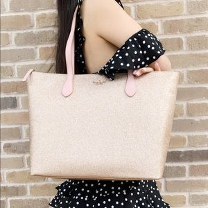 Kate side large glitter tote rose gold pink